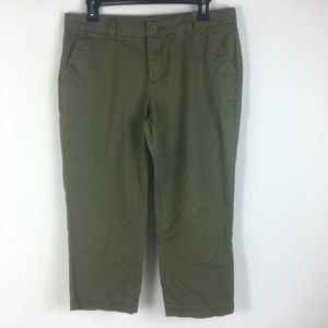BCG Sz 8 Cropped Capri Pants Moss Green